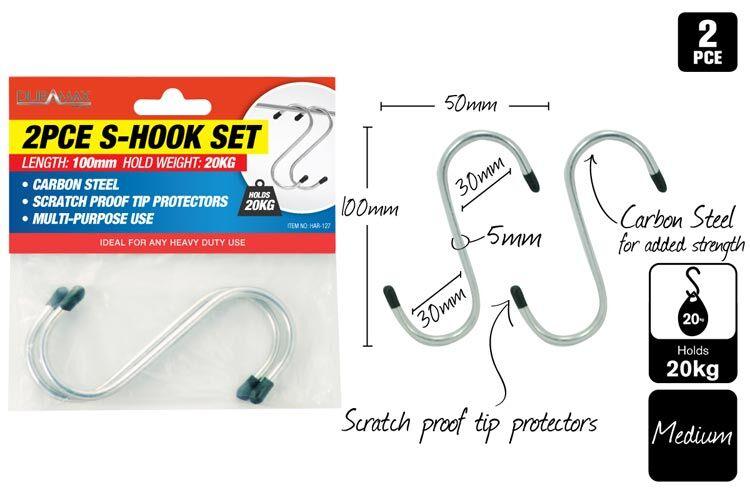 2pce S Hooks wGrip 100mm