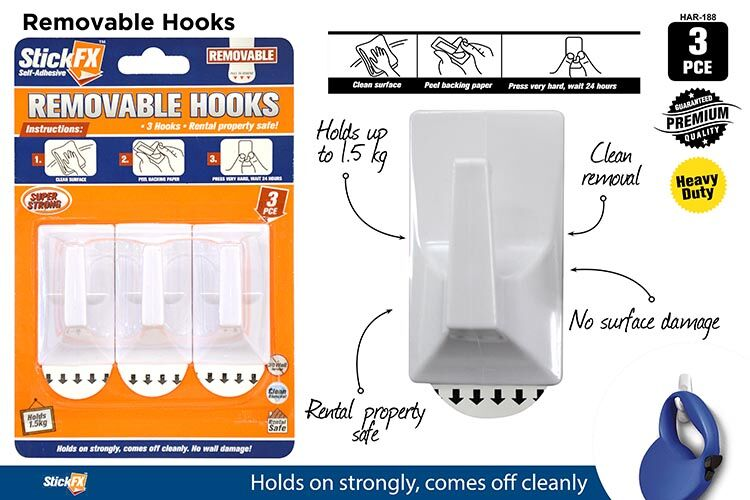 3pce Self Adhesive Hooks 1KG Rem 6cmH
