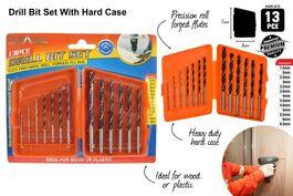 13pce DRILL BIT SET W/HARD CASE