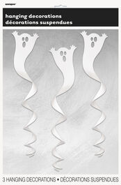 3 SPIRAL HANGING DECORATIONS - GHOST