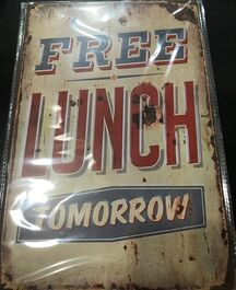 4D METAL TIN SIGNS-FREE LUNCH
