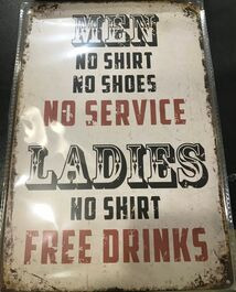 4D METAL TIN SIGNS-MEN, NO SHORTS, NO SHOES