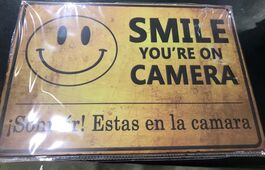4D METAL TIN SIGNS-SMILE YOU'RE ON CAMERA