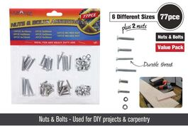 77PCS NUTS & BOLTS - 8 ASSORTED SIZES