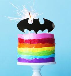ACRYLIC CAKE TOPPER - BATMAN LOGO - BLACK