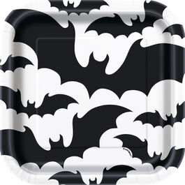 "HALLOWEEN BLACK BATS PLATES 7"""