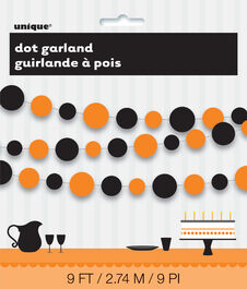 HALLOWEEN DOTS ORANGE & BLACK PAPER GARLAND