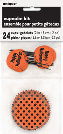 HALLOWEEN DOTS ORANGE & BLACK CUPCAKE KIT