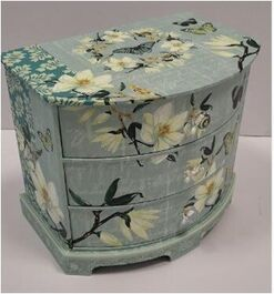 FLORAL MAKEUP BOX/DRAWER 24*16.5*20.3