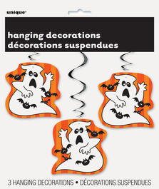 HALLOWEEN GHOSTS & BATS HANGING SWIRL DECORATIONS