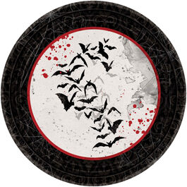 HALLOWEEN DARK MANOR ROUND PLATES  17CM