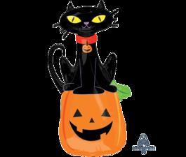 HALLOWEEN FOIL BALLOON SUPERSHAPE BLACK CAT ON PUMPKIN