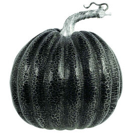 MEDIUM BLACK PLASTIC PUMPKIN WITH SILVER CRACKLE EFFECT