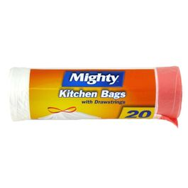 MIGHTY - KITCHEN BAGS WITH DRAWSTRINGS - 20 PACK - WHITE