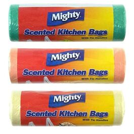 MIGHTY - SCENTED KITCHEN BAGS WITH TIE HANDLES - 30 PACK - 3 COLOURS