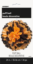 HALLOWEEN PUFF DECOR BLACK & ORANGE