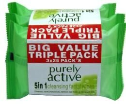 PURELY ACTIVE AGE SUPREME FACIAL WIPES 3X25 VALUE PACK