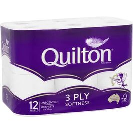 QUILTON - 3 PLY TOILET PAPER ROLLS, 12 PACK