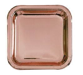 """ROSE GOLD SQUARE PAPER PLATES 7"""""""