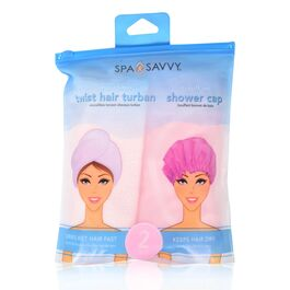 SPA SAVVY - TWIST HAIR TURBAN & BOUFFANT SHOWER CAP - 2 PACK
