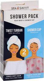 SPA SAVVY - SHOWER PACK - HAIR WRAP & SHOWER CAP